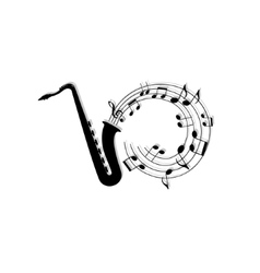 Musical notes background with saxophone vector