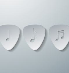 Notes with guitar picks white paper background vector