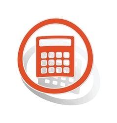 Calculator sign sticker orange vector