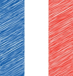 Flat hand draw sketch flag of france vector