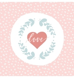 Hand drawn card about love with heart florals and vector