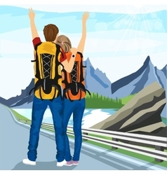 Young couple of hitchhikers standing on road vector