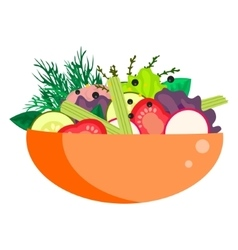Healthy vegetable summer salad bowl vector