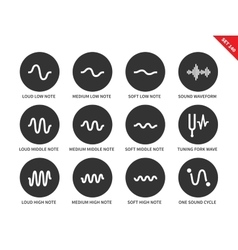 Sound waves set icons on white background vector