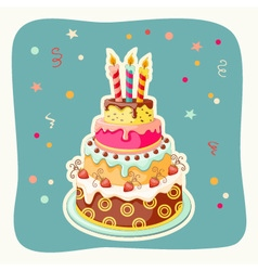 Cartoon card with cake tier vector