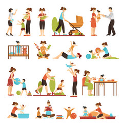Babysitter flat set of decorative colored icons vector