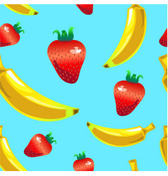 Banana strawberry seamless pattern on blue vector