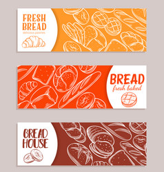 banners with bread product vector image