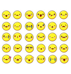 big emotional face icons set kawaiiflat design vector image