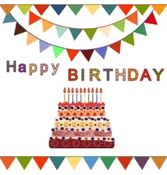 Birthday cake with ten candles ten years vector
