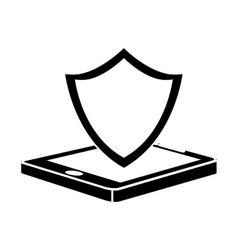 Black shield smartphone hosting icon vector