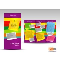 Brochure tri-fold layout design template note vector