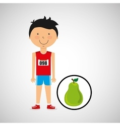 Cartoon boy athlete with pear vector