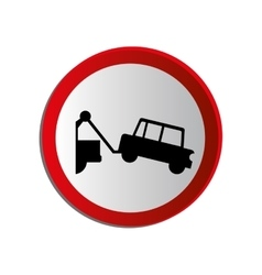 Circular contour road sign with tow truck vector