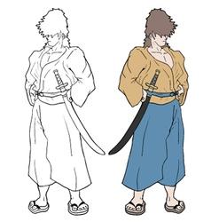 Color samurai vector
