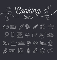cooking icon set with dessert fruit and equipment vector image vector image
