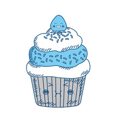 Cupcake sweet dessert kawaii cute cartoon vector