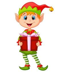 Cute christmas elf cartoon holding a gift vector