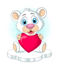 cute little polar bear cartoon holding heart love vector image vector image