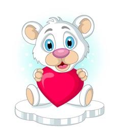 cute little polar bear cartoon holding heart love vector image