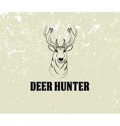 Deer head on grunge background vector