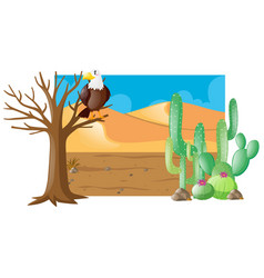 Desert scene with eagle on tree vector