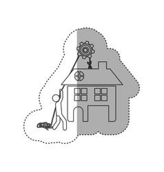 figure person with pulleys hanging the house vector image