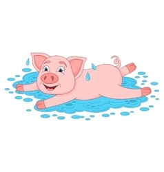 Funny piggy lies and smiling on water puddle vector