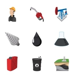 Gasoline icons set cartoon style vector image vector image