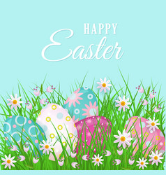 Happy easter greeting card with eggs and flowers vector