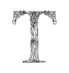 Letter T coloring book for adults vector image