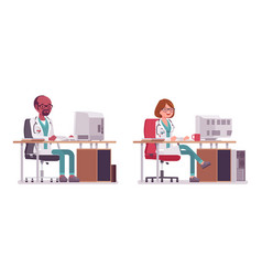 male and female doctor working at the desk with vector image