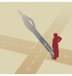 man at crossroads vector image vector image