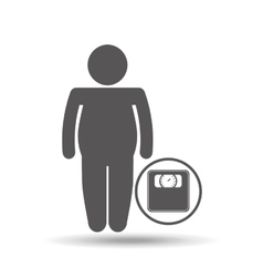 Man silhouette fat weight scale icon vector