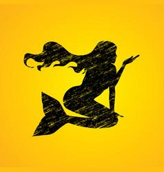 Mermaid sitting shape graphic vector