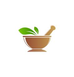 Mortar green leaf organic medic logo vector