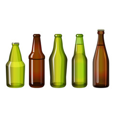 realistic brown and green bottles of different vector image