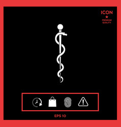 rod of asclepius snake coiled up silhouette vector image