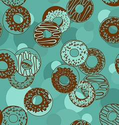 Seamless pattern of donuts vector