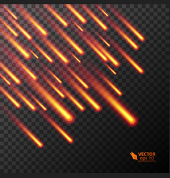 set of flying colorful burning comets vector image