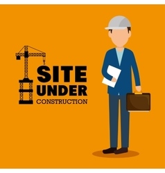 site under construction man manager icon vector image vector image