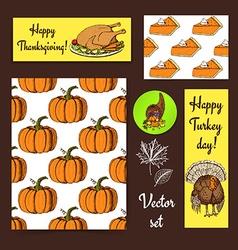 Sketch Thanksgiving set vector image vector image