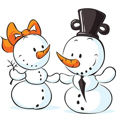 Snowmen in love isolated on white - vector
