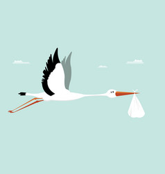 Stork delivering baby - its a boy vector