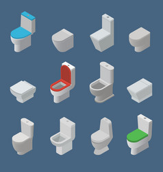 Toilet bowl and seat isometric icons vector