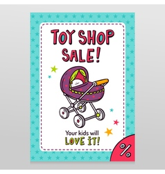 Toy shop sale flyer design with baby stroller vector