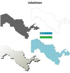 Uzbekistan outline map set vector