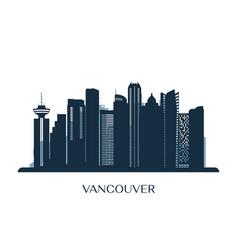 vancouver skyline monochrome silhouette vector image vector image