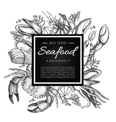 vintage seafood restaurant vector image vector image