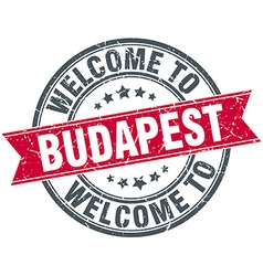 Welcome to budapest red round vintage stamp vector